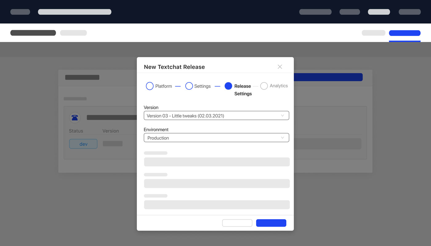 Create Chatbot Bot Website Chat Release Version Environment